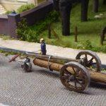 modelspoorbaan Koningswaal Paard met mallejan vervoer boomstam